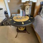 Round two tiered painted table
