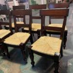 6 wood chairs with rush seats