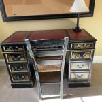 Chinoiserie antique leather top desk with chair