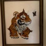 Tiger cub needle point framed