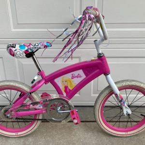 Photo of Barbie bicycle w/training wheels, used