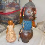 South American hand crafted artifacts ceramic  and wood.