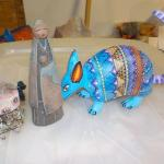 South america antique artifacts. AND HAND PAINTED ARMADILLO.