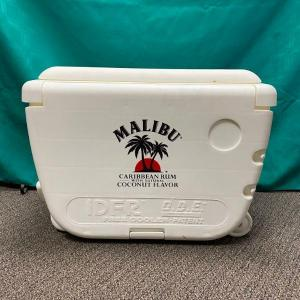Photo of Malibu Rum White Ice Chest Cooler on Wheels with Fold Down Sides & Stools