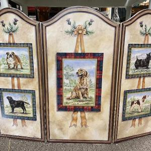 Photo of Tri Fold Dog Screen Fireplace Cover Floor Art