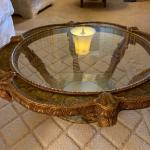 Hollywood Regency Capiz Shell Gilt Metal Italian Florentine Style Coffee Table