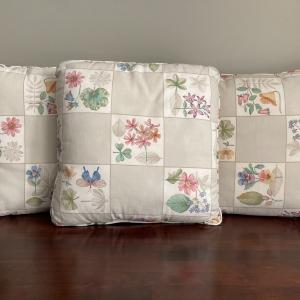 "Photo of Longaberger:  3 throw pillows, 1 chair pad cushion ""Botanical Fields"""