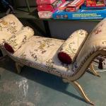 Antique freshly reupholstered bench