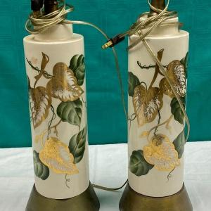 Photo of Green and Gold Ivy Pattern Table Lamps