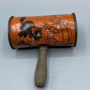 Photo of Vintage Tin Halloween Shaker Rattle with Wood Handle