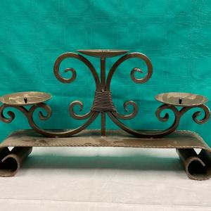 Photo of Large Metal Scroll Triple Candle Holder