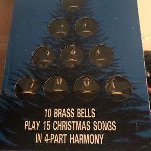 Photo of Lighted Musical Brass Bells Christmas Decoration