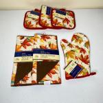9pc Fall Kitchen Set - Pot Holders / Oven Mitt / Dish Drying Mat