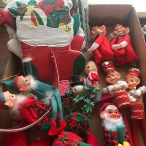 Photo of Vintage Knee Hugger Elf, 1960's Elf Figures, Christmas Potholders, Elf Centerpie