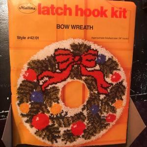 Photo of Vintage Hook-A-Rug Latch Hook Kit Christmas Wreath