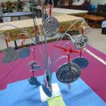 76  Metal tree with pewter ornaments