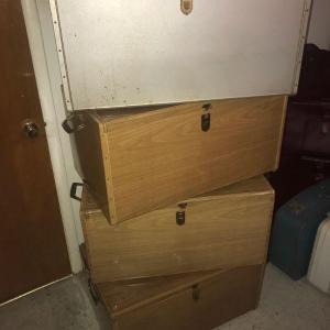 Photo of Lot of 4 Vintage Metal Storage Chests/Bins/Lockers