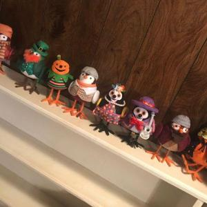 Photo of Collection of 8 Seasonal Themed Hand Crafted Owl Figures