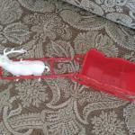 Vintage plastic reindeer and sleigh
