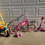 $20  for ALL 3  items: Barbie Bike, Huffy Princess Scooter, FP trike