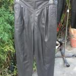 (1) Pair Charcoal Gray Leather Slacks - Side Zipper - Size 46