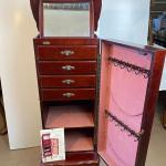 Lot# 221 Queen Anne Style Jewelry Armoire Mirror Drawers Necklace hook Lockable