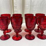 Lot# 222 Vintage Viking Glass Ruby Red Georgian Honeycomb Footed Wine Glasses