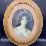 Framed Oval Victorian Girl Art