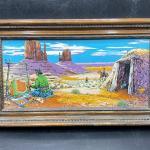 Vintage Westward Ho Western Painted Tile Art