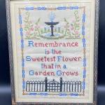 Vintage Framed Cross Stitched Tea Towel Art