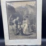 Unframed Victorian Etching Style Print