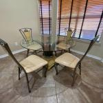 Breakfast glass table with 4 chairs