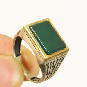 Photo of New Men's Sterling Silver Green Agate Ring, Size  11, with Bronze Accent