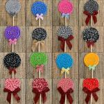 Farmhouse-style Fabric Lollipops for parties, showers, holiday decor!