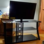 34' Tv and glass stand for sale