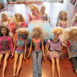Barbie VW BUG and large lot of 12 Barbies