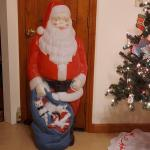 Vintage Empire Blow Mold Santa w/ blue Toy Sack Mid Century 1960s Christmas 46""