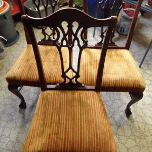 Photo of 3 ANTIQUE CHIPPENDALE CHAIRS
