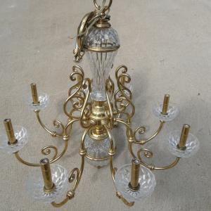 Photo of LARGE GLASS & BRASS  CHANDELIER
