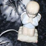 Porcelain Praying Boy on Pillow Night Light Lamp