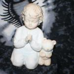 Porcelain Praying Boy with Teddy Bear