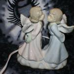 Porcelain Kissing Angels Night Light Lamp