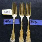 Three Matching Sterling Silver Fork Set 44g