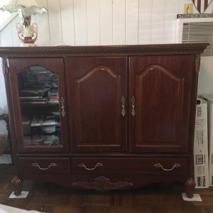 Photo of Matching Set Cherry Wood color TV Cabinet, dresser, 2 night tables
