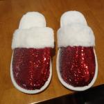 NEW Ladies Red Sequin Slippers - size L (9-10)