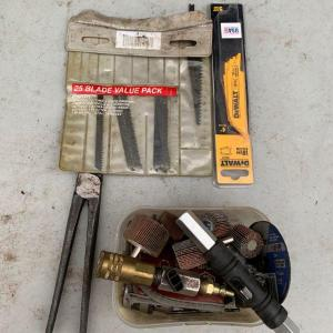 Photo of Tool lot, Blue-point YA808 hog ring pliers, box of grinder wheels, saw blades