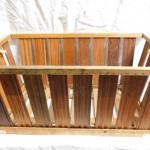 "Vintage Wood Slat Carry Basket 27""x16""x12"""