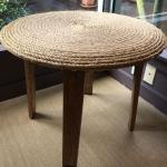 ROPE TOPPED WINE BARREL TABLE
