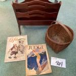 J424 Vintage Mahogany Magazine stand with split oak Basket