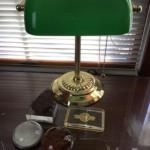 K-436 Brass Students Desk Lamp and Four Paperweights